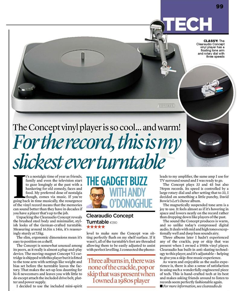 Clearaaudio Concept Irish Mail Diciembre 2016