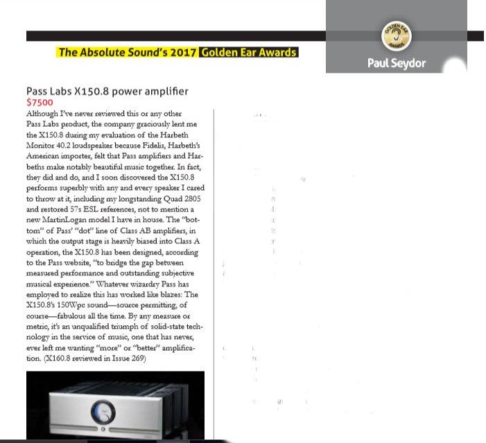 Pass Labs X150.8 Etapa potencia Absolute Sound Golder Ear Award 2017